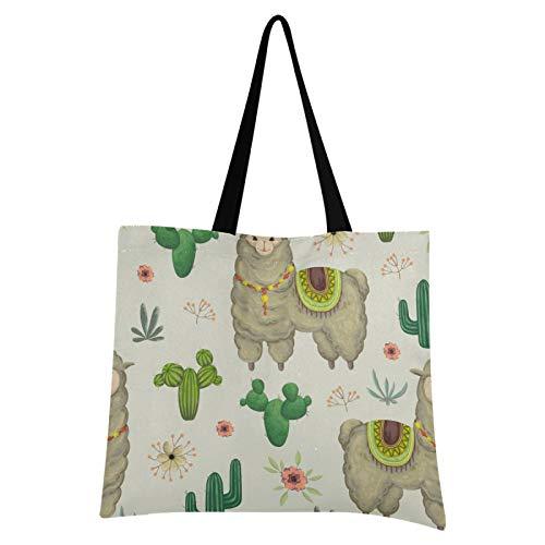 Bolso de lona lindo Alpaca y Cactus compras bolsa de tela reutilizable bolsas de hombro