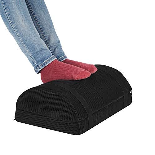 Gwolken Ergonomic Foot Rest Under Desk with Non-Slip Surface, High Rebound Foam Footstool Footrest Ottoman Half-Cylinder Relieve Pain for Office, Home, Airplane,Travel (Black)