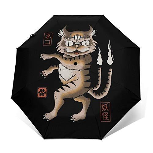 Yokai Paraguas Plegable Compacto y Resistente al Viento, Apertura y Cierre automáticos, Parasol de Viaje Plegable automático