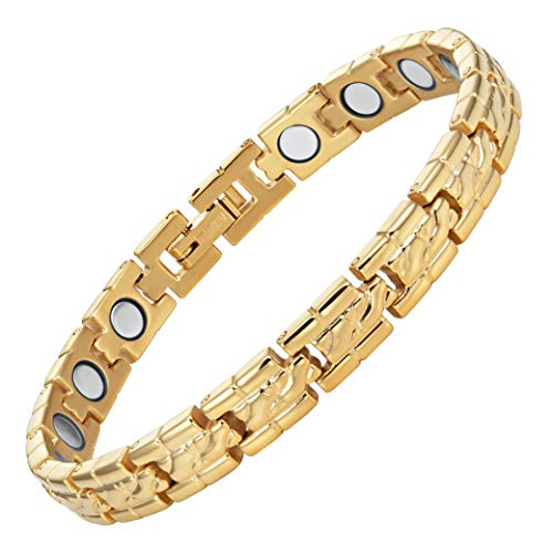 Willis Judd Womens Two Tone Titanium Magnetic Therapy Bracelet for Arthritis Pain Relief Size Adjusting Tool and Gift Box Included