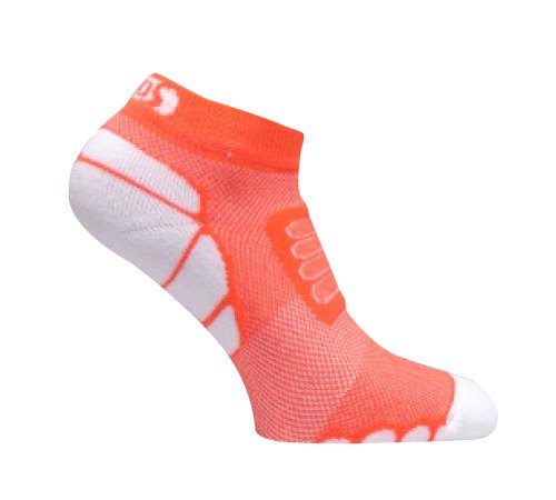 Eurosockss Silver DryStat Running & Marathon Ultra Light Weight Low Cut socks, Orange/White, X-Large
