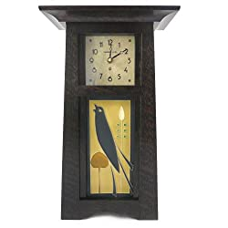 American Made Tall Craftsman Style Mantel/Shelf Clock with Songbird Art Tile, Oak Wood with Slate Finish, 15