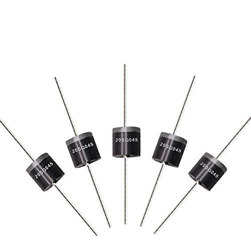 Tnisesm 20 Stk. 20SQ045 20A 45V Schottky-Blockierdiode, Gleichrichterdiode, Dioden-Axial-Kit für Solarpanel