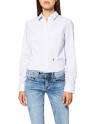 Seidensticker Damska bluzka z długim rękawem, krój slim fit, wzorzyste, bez konieczności prasowania, niebieski, 42