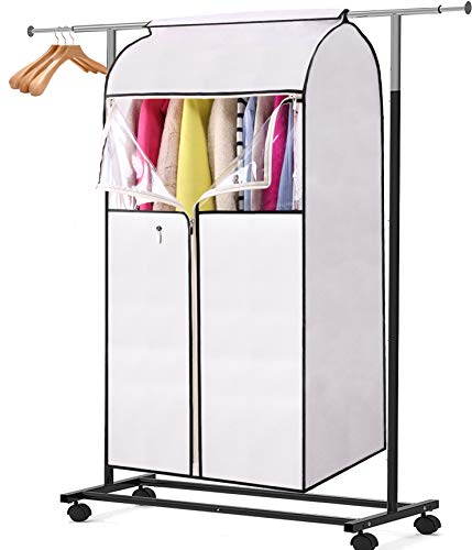 MISSLO 43' Garment Bags for Storage Well Sealed Hanging Clothes Cover with 3 Zippers Large Opening for Dress Coat Jacket Shirts Closet Protector (Rack not Included)
