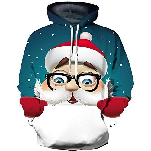 3D Impresión Sudaderas Capucha,Novedad Sudadera De Manga Larga Gafas Santa Claus Estampado Verde Otoño Jersey con Bolsillo para Hombres Mujeres Pareja Estudiante, M