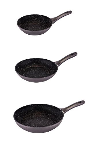 3er Set culinario Bratpfannen Ø 20, 24 und 28 cm, anthrazit, Granit-Optik, mit ILAG GRANITEC Beschichtung