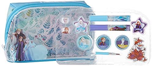 Frozen II Kinderschminke Set Mädchen für Gesicht und Lippen, Schmuck, Olaf Anhänger und Applikator zum Auftragen