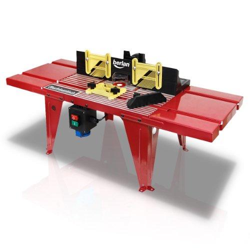 Berlan Banco tavolo per fresa fresatrice verticale con allacciamento da 230 volt, adattamento del piano di lavoro 155 mm, diametro 39 mm max. materiale di montaggio e set completo di accessori incl.