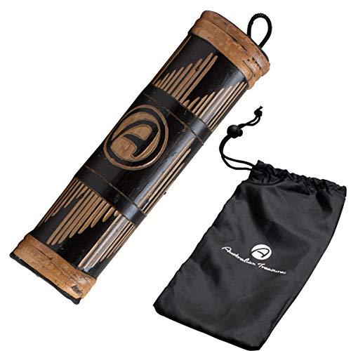 Australian Treasures - Baton de pluie 20cm carved incluant un sac en nylon pour rainstick