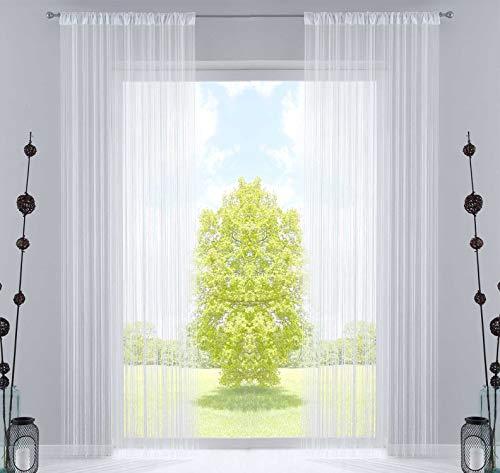 2er Set Fadengardine, HxB 250x140 cm, Weiß mit Tunneldurchzug und eingenähtem Kräuselband, geeignet für Gardinenstangen und Gardinenschienen Fadenvorhänge Fadenstores Raumteiler, 20303CN2