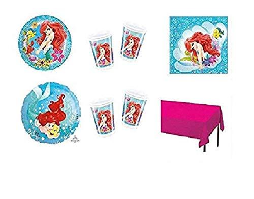 Kit n° 17 - Ariel la Petite Sirène - Set de table coordonné pour décorations de fête (16 assiettes, 16 gobelets, 20 serviettes, 1 nappe, 1 ballon en aluminium)