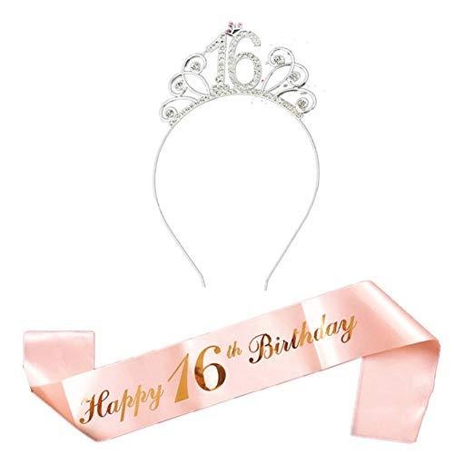 JsJr-K-In Cinturón para mujer, juego de disfraz de feliz cumpleaños incluye tiara de cristal, corona de cumpleaños y faja.