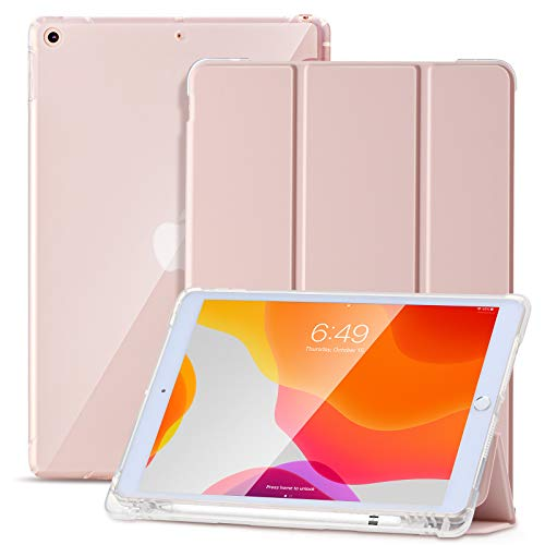 SIWENGDE Case for iPad 10.2 Inch 2019/ iPad 10.2 Inch 2020,Slim Soft TPU Translucent Frosted Back Protective Cover for iPad 7th Generation, Smart Case with Pencil Holder,Auto Wake/Sleep-Tender Pink