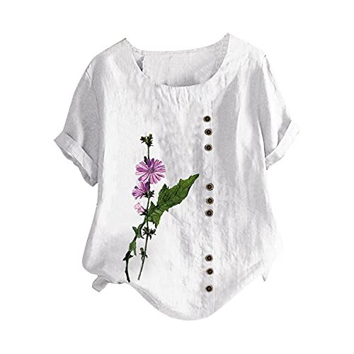 BUKINIE Womens Plus Size Linen Shirts Floral Vintage Boatneck Blouse Casual Loose Short Sleeve Cotton Linen Tunic Tops Tees Shirts