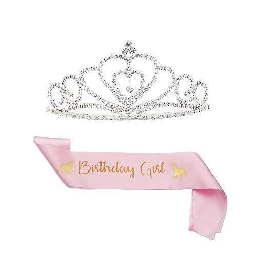 B4MBOO Prinzessin Geburtstag Mädchen Tiara und Schärpe | süßes Einhorn rosa Satin Schärpe und Krone für Geburtstag Mädchen | Happy Birthday Party Supplies, Geschenke, Dekorationen (2er-Pack)