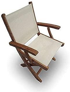 Royal Teak Collection SMCW Sailmate Teak Sling Folding Arm Chair, White, 24-Inch