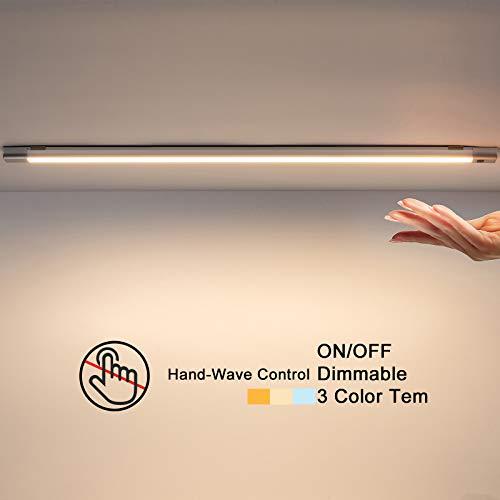 Temgin LED Unterbauleuchte Dimmbar Schrankleuchten 50CM mit Stecker und Berührungsloser Sensor Nachtlicht Aluminium Lichtleiste für Küche Theke Flur Treppe
