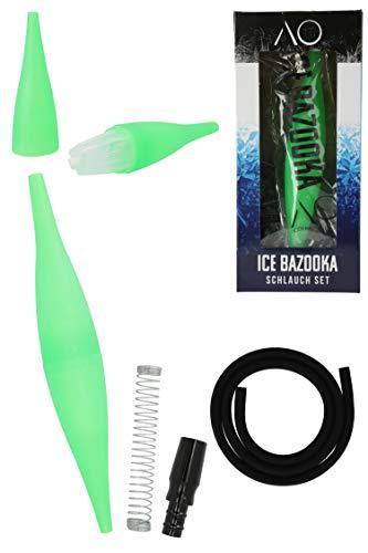 AO® Shisha Ice Bazooka Set de manguera | 1 boquilla de hielo + 1 acumulador de frío + 1 manguera + 1 muelle de manguera + 1 conector de manguera | (verde claro)