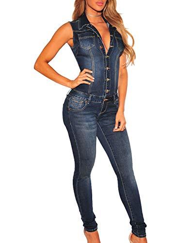 TieNew 2018 Mujer Sexy Jeans Monos de Vaquero con Mangas Jeans para Mujer Jumpsuit Largo y Elegante V Cuello Vaqueros Monos Tejanos Largos De Vestir Mujer Largos Casual Vaqueros