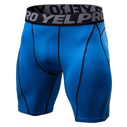 Huaheng Mannen Gym Compression Shorts Broek Sport Ademende Sneldrogende Panty Slim Fitness XL Blauw