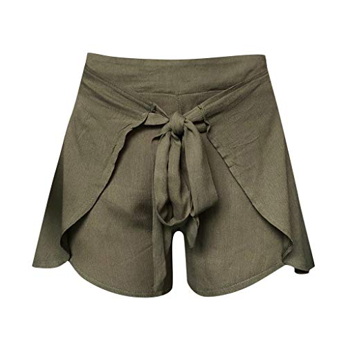 Review youeneom Women Drawstring Beach Shorts Elastic Waist Casual Shorts Summer Cotton Linen Boho S...