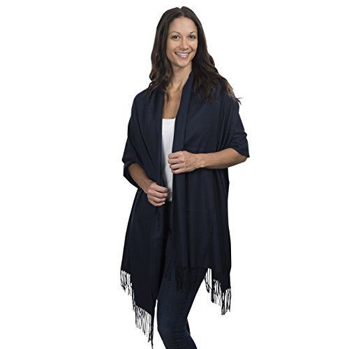 Cashmere & Class Large Soft Cashmere Scarf Wrap – Womens Winter Shawl + Gift Box (navy)