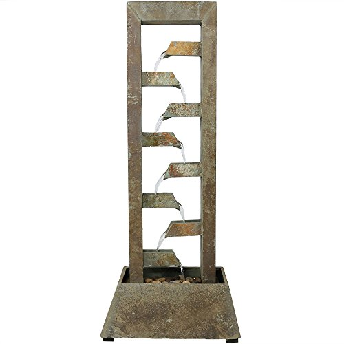 Sunnydaze Stacked Slate Outdoor Water Fountain - Large Freestanding Outside Floor Waterfall Fountain Feature for Garden, Backyard, Patio, Porch, or Yard - 49 Inch Tall