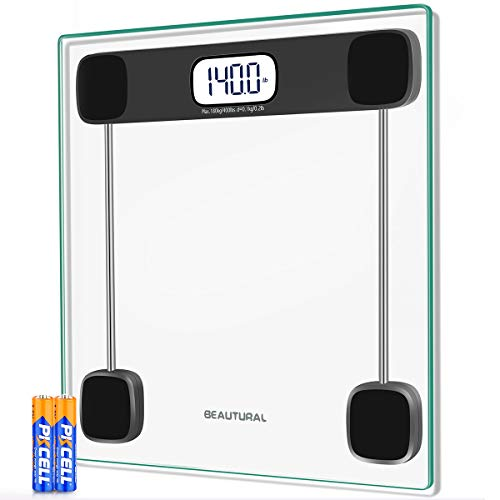 Beautural Digital Body Weight Scale, Precision Bathroom Scales for Weights with Backlit LCD, Tempered Glass, Smart Step-on Tech, Auto Calibration, 180 kg / 400 Pounds (lbs), 2 AAA Batteries Included