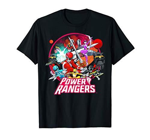 Power Rangers Group Shot Vintage Circle T-Shirt