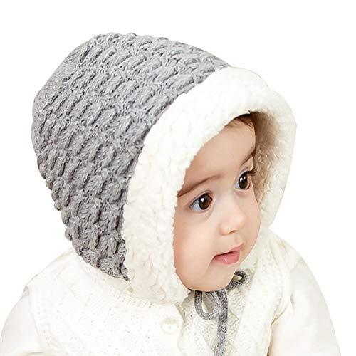 WFF sombrero El hacer punto hecho a mano bebés de los muchachos del sombrero del invierno con orejeras felpa del casquillo de la guarnición caliente for los niños de 3-36 meses (rosa, gris) gorro de p