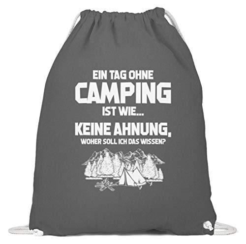shirt-o-magic Wohnmobil: Tag ohne Camping? Unmöglich! - Baumwoll Gymsac -37cm-46cm-Grafit Grau