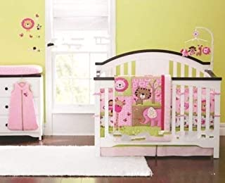 New Baby Sweet Zoo Safari 9pcs Crib Cot Bedding Set with musical mobile