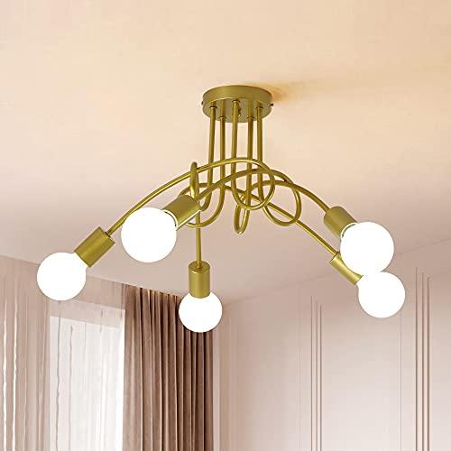 Lamparas de Techo Vintage E27, Lámpara de Techo Colgante Moderna, Lámpara de Araña LED de 5 Luces para Salón, Dormitorio, Comedor, Cocina, Cafetería, Restaurante
