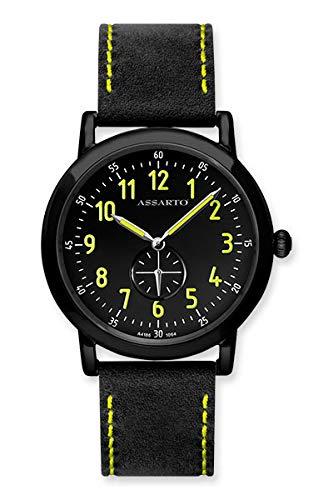 ASSARTO® Watches ASU-4186BK/S-BLK Unisexuhr, sportlich-Klassische Uhr für Sie oder Ihn Unisex im Bauhaus-Stil