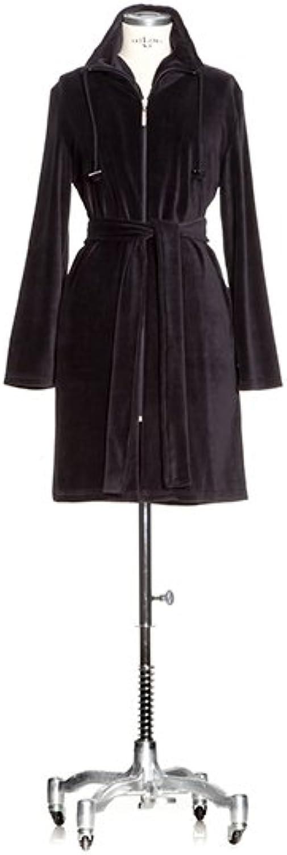 MV Velours Robe with Zip Spa Textured Plush Robe Cotton Bathrobe (Black) (XSmall (XS))