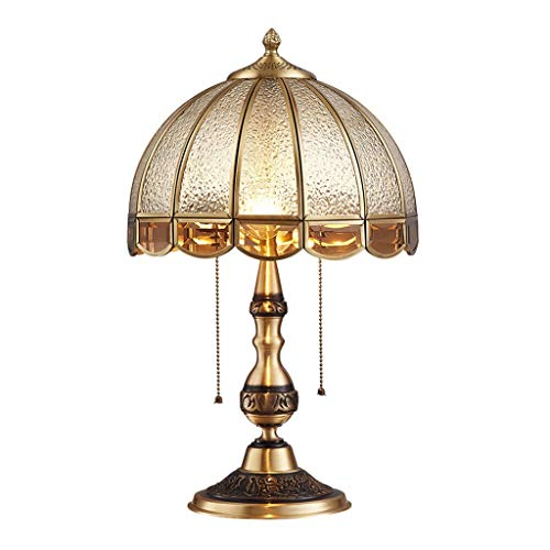 Lámparas de mesa y mesilla de noche Lámpara de mesa de cobre retro dormitorio Estudio lámpara de cabecera de la sala de lámpara de escritorio creativa de la tabla Luz de América Lámparas de escritorio