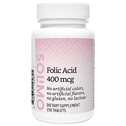 Amazon Brand - Solimo Folic Acid 400 mcg, 250 Tablets, More Than Eight Month Supply