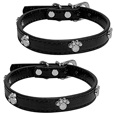 "VanGoddy Accessories Medium Strong Leather Dog Collar 10"" to 13.5 inches, Paw Print Design 2 Pack, Magenta"