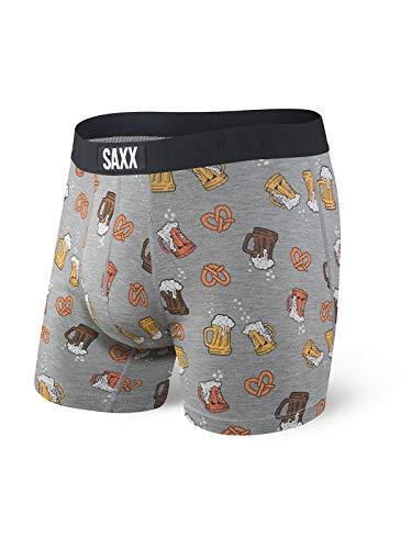 Saxx Underwear Herren Vibe Boxershorts mit Ballpark Beutel - Grau - Small