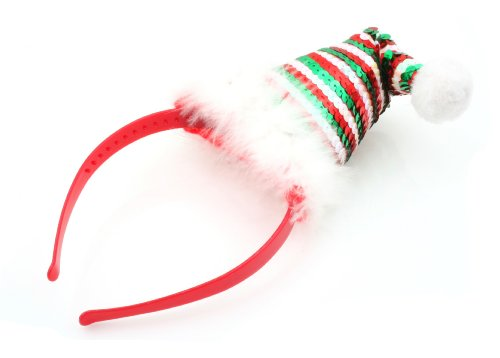 Christmas Sequin Red Green White Santa Hat Alice Band Hair Accessories by Zest by Zest