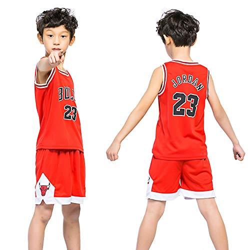 Dybory - Juego de camisetas de baloncesto para niños, diseño de NBA Bulls Jordan #23, estilo retro, sin mangas, camiseta y pantalones cortos, el mejor regalo para niños, color rojo, L