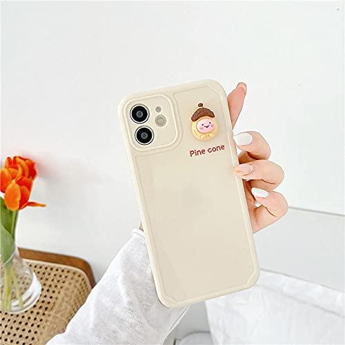 Patrón de Berenjena 3D Funda para teléfono móvil Funda Trasera de TPU Suave a Prueba de Golpes para iPhone 12 11 Pro MAX 7 8 Plus x XR XS MAX SE2 para iPhone XSMAX Pine Cone