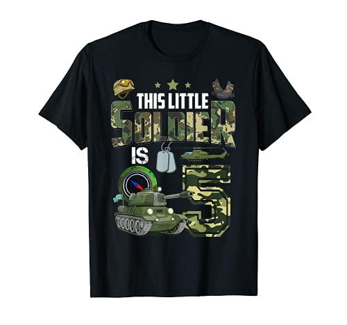 Camiseta de cumpleaos para nios de 5 aos de edad, diseo militar de camuflaje 5 Camiseta