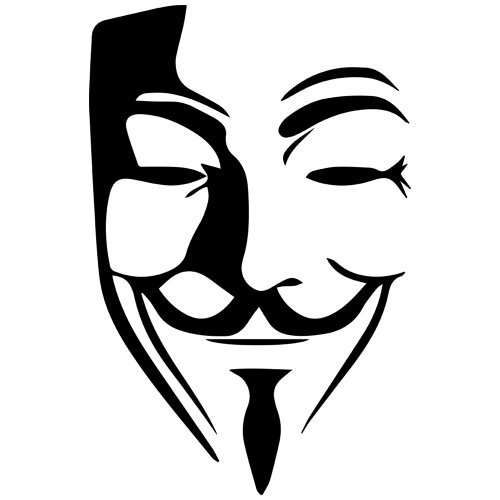 Set of 3 - Guy Fawkes Anonymous Mask Decal Sticker Color: Black- Peel and Stick Vinyl Sticker