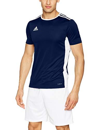 adidas Entrada 39 Camiseta de Fútbol para Hombre de Cuello Redondo en Contraste, Azul (Dark Blue/White), 3XL