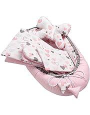 """Solvera_Ltd 5-częściowy zestaw dla niemowląt zawierający: kokon niemowlęcy o wymiarach 90 cm x 50 cm z wyjmowaną wkładką, płaską poduszeczkę, kołderkę i poduszkę """"motylek"""", zestaw wyprawkowy, 100% bawełny 90*50 ---Hearts"""