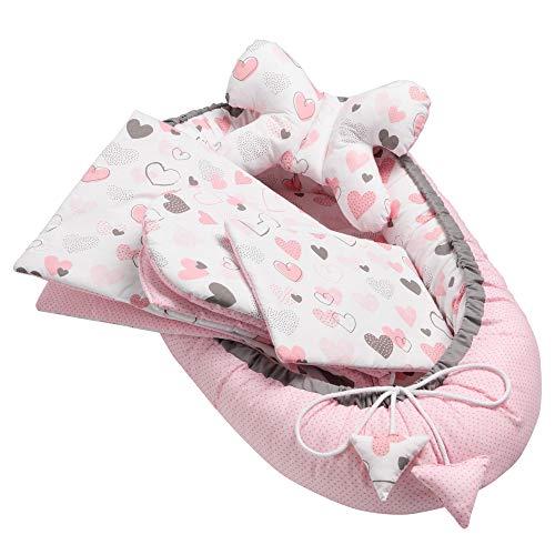 Solvera_Ltd 5tlg. Baby Ausstattung-Set inkl Babynest 90x50 herausnehmbarer Einsatz Flachkissen Krabbledecke Schmeterrling-Kissen für Babys 100% Baumwolle (Hearts)