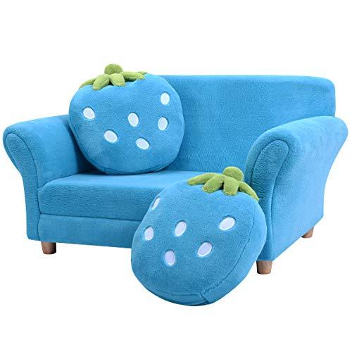 DREAMADE Kindersofa Süß, Kindersessel Kindercouch mit 2 Kissen, Kindermöbel Sofa, Kinder Doppelsofa, Minisofa Kinderzimmer, Erdbeer-Muster, Farbwahl (Blau)