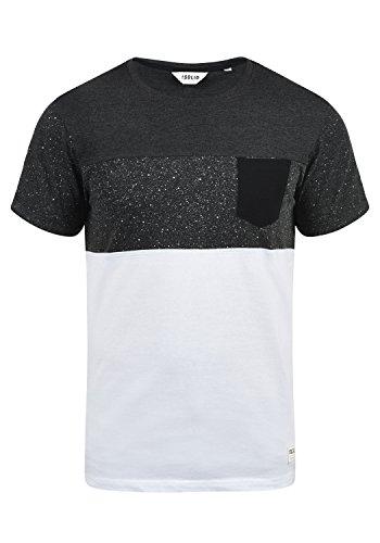 !Solid Kold Herren T-Shirt Kurzarm Shirt Mit Streifen Und Rundhalsausschnitt 100% Baumwolle, Größe:L, Farbe:Dark Grey Melange (8288)